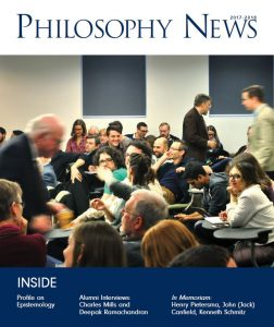 Cover of 2017-18 Philosophy News featuring a crowd in a lecture hall