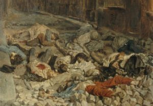 "Detail from ""The Barricade, Rue de la Mortellerie"" (painting)"