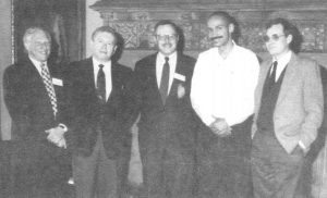 L-R: Joseph Rotman, Dow Marmur, David Novak, Charles Mills, and Frank Cunningham.