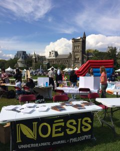 Table representing Noesis at the front lawn of Hart House on Club Day