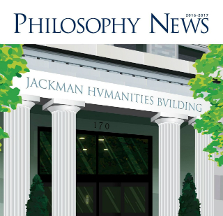 illustration of Jackman building on front cover of newsletter