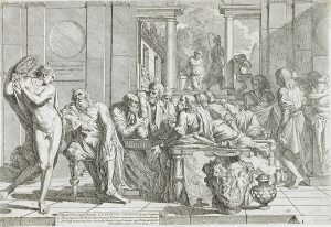 Plato and others attend a symposium (drawing etched on paper).