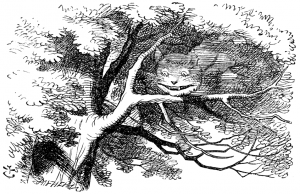 Illustration of cheshire cat in a tree