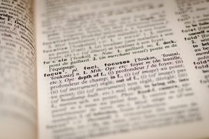 Close-up of a French-English dictionary.
