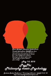 Graduate conference poster with two silhouettes of heads and the names of the speakers
