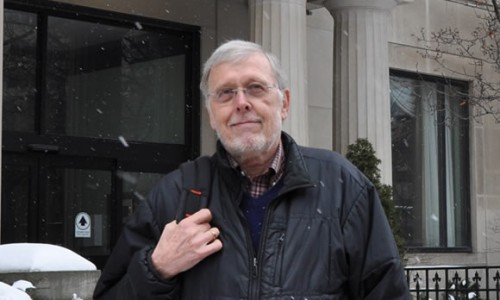 Wayne Sumner in front of courthouse