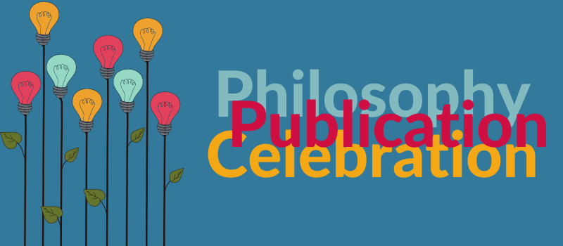 Philosophy Publication Celebration on blue background with stylized flowers made of lightbulbs
