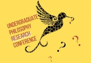 Undergraduate Philosophy Research Conference on yellow background with a stylized black hummingbird carrying question marks in his beak