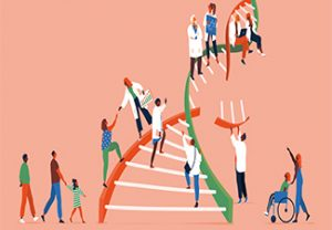 Illustration of a diverse group of people climbing a broken DNA double helix