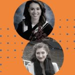 Head shots of Amani Haskouri and Kate Kazimowicz on an orange background with a blue pattern superimposed.