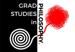 Grad Studies in Philosophy on a black-and-white background with a red knot neatly reeling into a clean spiral.