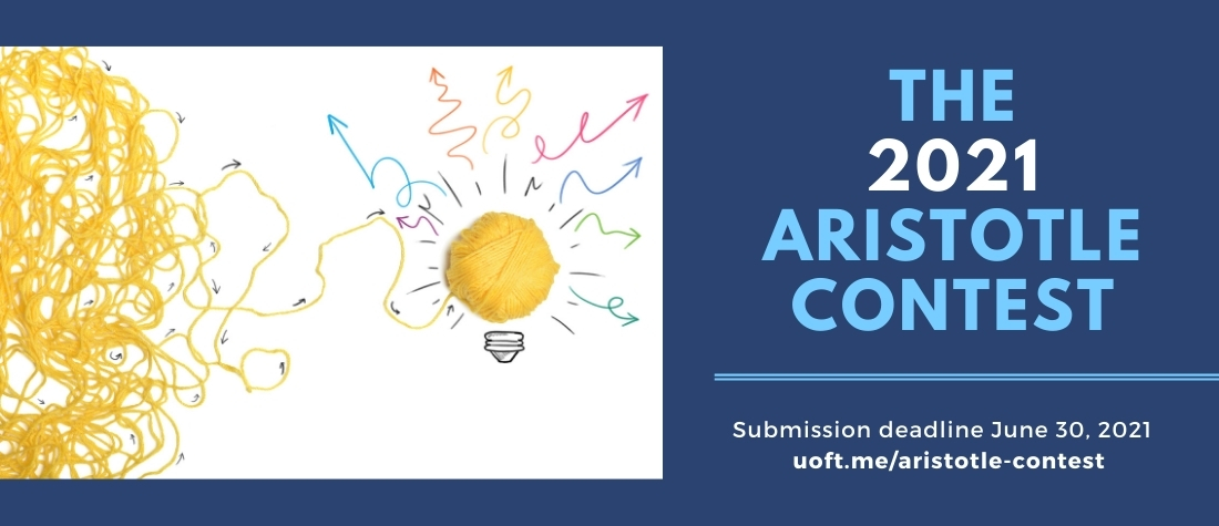 """Aristotle Contest image of a messy ball of yarn unraveling into a lightbulb and arrows, all on a blue background and saying """"The 2021 Aristotle Contest"""""""
