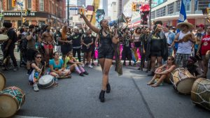 Black Lives Matter protester speaks at the 2016 Toronto Pride parade.