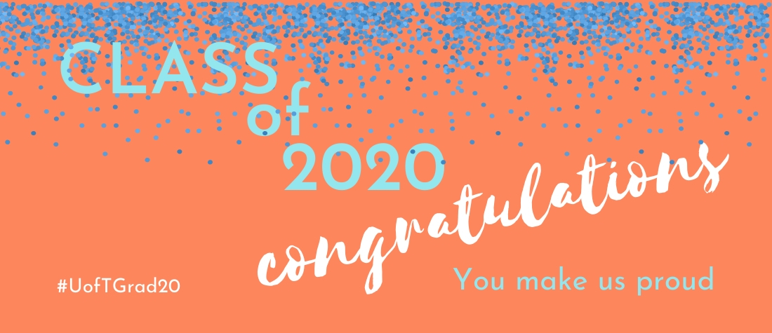 """""""Class of 2020, congratulations, you make us proud"""" on orange background with blue confetti"""