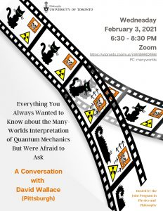 Event poster for David Wallace talk, featuring a split filmstrip displaying Schroedinger's Cat; all other information repeated in text