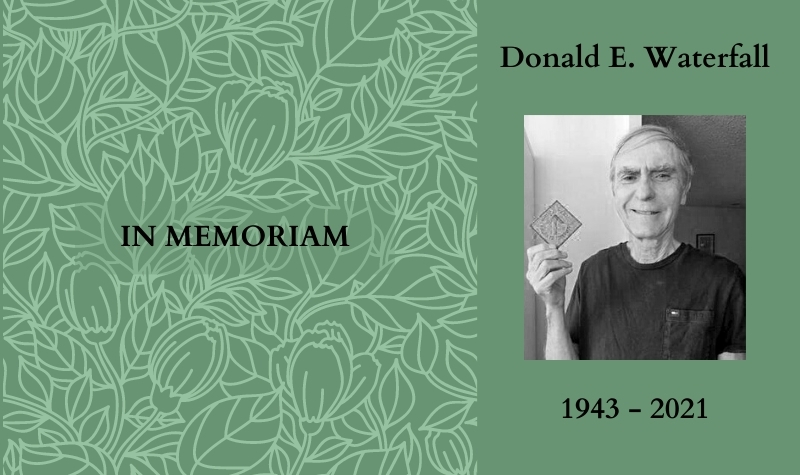 Black-and-white headshot of Don Waterfall, with his name and dates, on a green background with vines