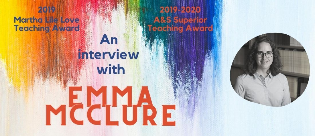 B/W head shot of Emma McClure on a colorful slider announcing her teaching awards and an interview