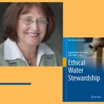Headshot of Ingrid Stefanovic and the book cover of Ethical Water Stewardship on a yellow background