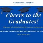 Cheers to the Graduates, may you all shine brightly in your endeavours, on a blue background with black convocation caps