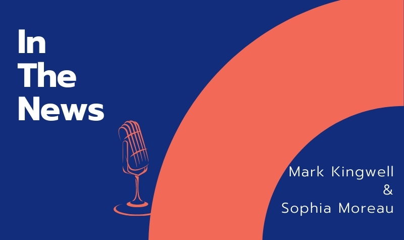 """""""In the News: Mark Kingwell & Sophia Moreau"""" on blue background with salmon-colored arch and microphone drawings"""