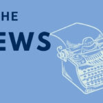 """""""In the News"""" and an illustration of a typewriter on a U of T lightblue background"""
