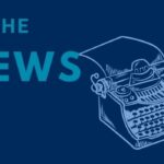 """""""In the News"""" and an illustration of a typewriter on a U of T blue background"""