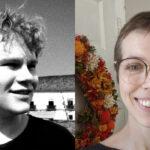 Head shots of Jordan Thomson and Belinda Piercy on a gray background