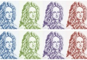 Multiples of Leibniz' face in different colours. (Warholesque).