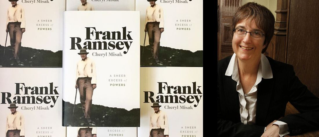 Book cover of Frank Ramsey: A Sheer Excess of Powers with portrait of Cheryl Misak