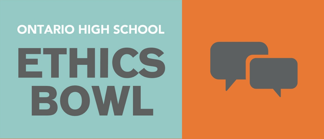 Ontario High School Ethics Bowl Logo with two gray speech bubbles on a green and orange background