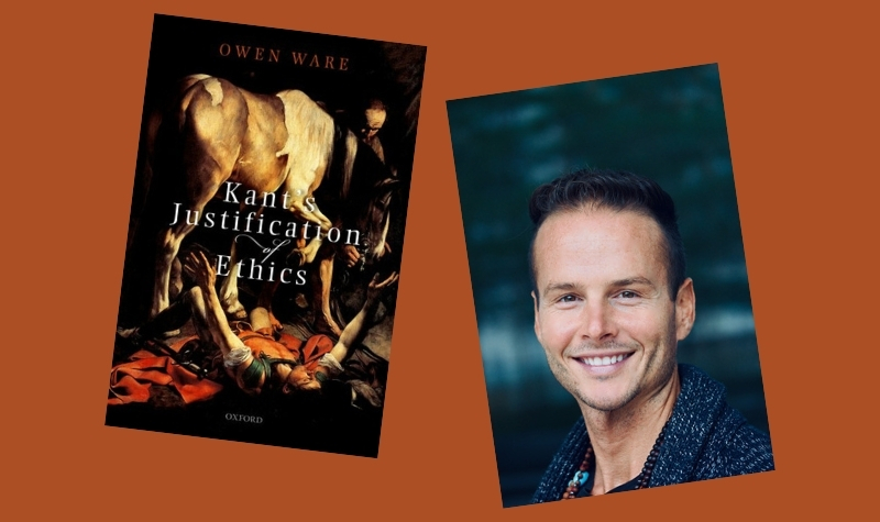 """The images of a headshot of Owen Ware and the cover of his book titled """"Kant's Justification of Ethics"""" floating on a burnt orange background."""