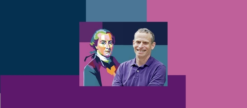 Colorful rendering of Kant side by side with photo of Arthur Riptein