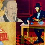 Collage featuring a classical Indian philosopher, Xunzi, Fernando Pessoa, W. E. B. Du Bois, and Averroes
