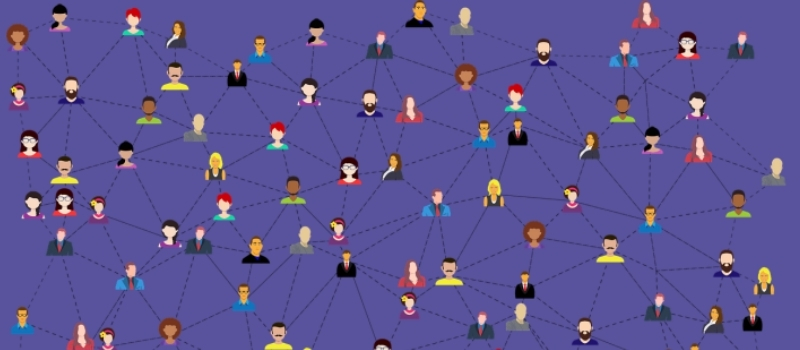 Illustration of people networked on purpple background
