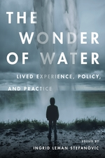"""The Wonder of Water: Lived Experience, Policy, and Practise"" written by Ingrid Leman Stefanovic. Book cover includes a silhouette of a person standing on a cliff facing his back."