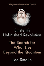 """Einstein's Unfinished Revolution: The Search for What Lies Beyond the Quantum"", by Lee Smolin. The book cover displays an upside down picture of Einstein."