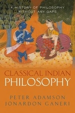 """""""Classical Indian Philosophy"""", by Peter Adamson and Jonardon Ganeri. Book cover includes of two individuals sitting face to face."""