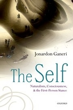 """""""The Self: Naturalism, Consciousness, and the First-Person Stance"""", by Jonardon Ganeri. Book cover includes a reflection of people standing."""