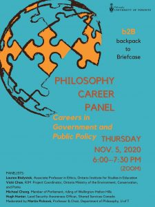 Philosophy's Career Panel flyer showing date and time