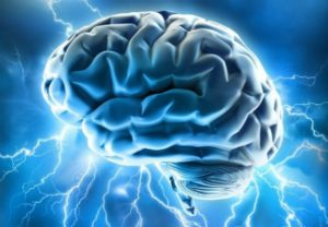Illustration of a brain with blue lightning bolts shooting out of it.