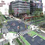 Digital illustration of urban street crossing