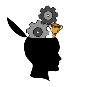gears turning and a trophy. Both coming out of a silhouette's head