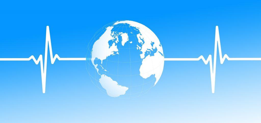 Globe with heartbeat line
