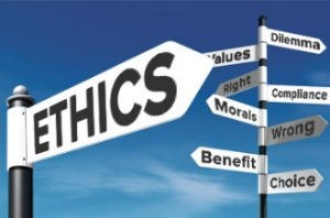Street signs with words about ethics (right, wrong, etc.)