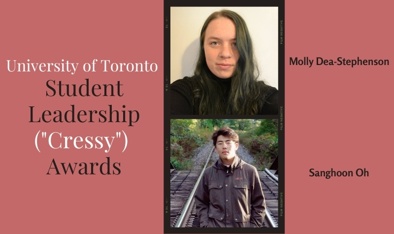 Cressy Awards with head shots of Molly Dea-Stephenson and Sanghoon Oh