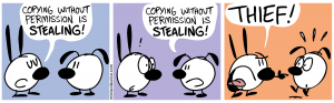 Comic strip about plagiarism.
