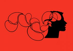 Stylized head in black with thought bubbles on a red background