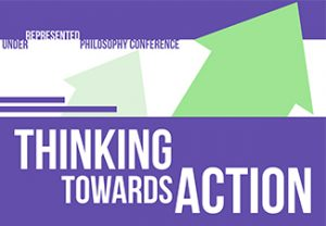 "The words ""Thinking towards Action"" of a purple and white background with diagonally pointing green arrows"