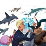 Digital illustration of fish flying above people arguing