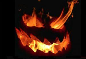 Jack-o-lantern with flames
